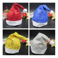 Wholesale New Christmas Hat Cap Sequin Shining and Nonwovens Christmas Hats Red Santa Hats Cute Children Adults Christmas Party Caps
