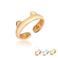 al por mayor chapado en oro anillo de oído-2017 El oro ajustable lindo lindo del gato de la venta al por mayor de la llegada y las mujeres de la pata suenan el anillo plateado oro EFR089 del regalo de la manera del oro de Rose de la plata del metal de la aleación