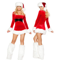 Wholesale HOT SALE Adult Sexy Christmas Miss Santa long sleeve Dress Xmas Party Costume Halloween Little Helpe with hat and covers