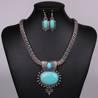Diamond agate corals - New Women Jewellery Tibetan Silver CZ Crystal Chain Pendant Necklace Earrings Set Round Turquoise Jewelry sets