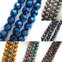 Wholesale Fashion Good Quality mm Gold Silver Copper Rainbow Faceted Hematite Stone Round Loose Beads For DIY Jewelry Making