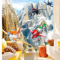 aircraft wallpaper - D Stereo Custom Aircraft Total Mobilization Wallpaper Children Room School Nursery Bedroom Backdrop Cartoon Wallpaper Mural