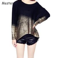 al por mayor puente de oro-Mujeres Golden / Silver Batwing Suéter Punk Contraste Retro Gradiente Bronceado Plus Size Pullover Loose Oversized Sweaters Puentes