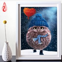 Wholesale YGS DIY D Diamond Embroidery Lovely owl Round Diamond Painting Cross Stitch Kits Diamond Mosaic Home Decoration