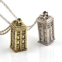 antique earring box - Vintage Jewelry Doctor Who D Antique Silver Bronze Tardis Police Box Pewter Tall Long Chain Pendant Necklace For Men And Women