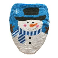amazon bulk - sale by bulk Amazon sell like hot cakes new style The snowman toilet coverPrinting on the toilet lid Christmas decorations