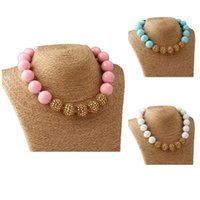Wholesale Girl acryl chunky necklace Kids Sweet candy beads Accessories Baby girls bubblegum round necklace Photo props colors
