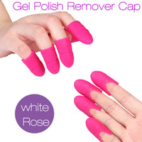 Wholesale New Nail Art Gel Polish Remover Cap Silicone Soak Off Cap Clip Gel Remover Cap Manicure Cleaning Tools White Rose