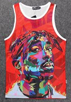 gros caillot achat en gros de-Vente en gros - RuiYi Hommes 3D Harajuku 2Pac Tupac American gangster Rap TUPAC SHAKUR Pullover tank top jersey chemise bodybuilding clot
