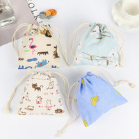 Wholesale Mini Cartoon Drawstring Bags Canvas Printing Small Gift Packaging Jewelry Necklace Bracelets Storage Bags Pouch Wedding Party Favor Holders