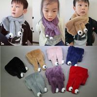 angora scarves - New Arrival Korean Version Child Neckerchief Autumn And Winter Angora Rabbit Eye Plush Scarf Fashion Warm Neckerchief Children Scarves
