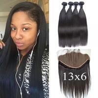 Wholesale 100 Human Hair X6 Straight Frontal Lace Closure With Human Hair Bundles No Shedding No Tangle