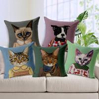 Wholesale Cartoon Adorable Cats Decorative Throw Cushion Cover Nordic Thick Linen Pillow Case Cushions for Car Sofa Chair Almofada Cojines