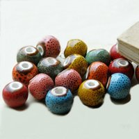 Wholesale 12mm Round Color Glaze Porcelain Ceramic Spacer Beads Handmade mm Hole Beads For Bracelet Necklace Jewelry Components