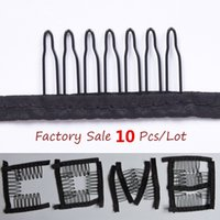 Wholesale 10pcs Black color wire wig combs plastic combss convenient for hair full lace wigs cap accessories styling tools