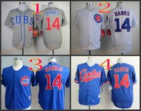 Wholesale 2017 Cheap Majestic Official Cool Base MLB Stitched Chicago Cubs Ernie Banks White BLue Gray Baseball Jerseys Mix Order
