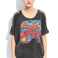 Summer Women Punk Rock Graffiti Print Vintage Hollow Out Batwing Sleeve Lavé Tees Hip Hop Plus Size Tops