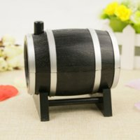 Wholesale set Popular New Cute Wine Barrel Plastic Automatic Toothpick Box Container Dispenser Holder