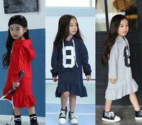 Wholesale Children Girls Lovely Number Flouncing Irregular Design Long Sleeve Hoodies Dress With Hat Grey Red Navy Cotton Velvet Dress B4379