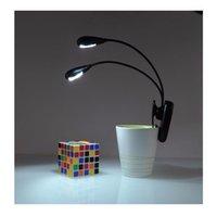 À double lampe de lecture France-Mini Clip sur la lecture des lumières du livre Lampe 2 bras double 4 LED clip souple Music Stand portable kindle e livre lumières nuit de travail