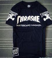 Wholesale Thrasher Skateboard Camouflage Men Women T shirt Top Quality Hip Hop Cotton Yeeezus HBA Suprem Fashion Men Tops Homme Men s short