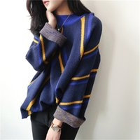 Wholesale KIKIMOLY Women Fashion Autumn Winter Vintage Striped A Line High Neck Pullover Knitting Top Knitwear Shirt Knit Sweater