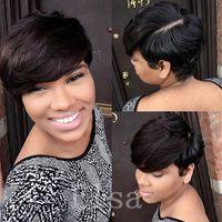 aliexpress malaysian hair - Human pixie hair none lace human short bob none lace wig Aliexpress brazilian hair wigs short cut wigs for black women