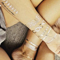 Wholesale New Styles Assorted Metallic Temporary Tattoo Gold Silver Jewelry Makeup Sticker Body Art Temporary Tattoos