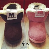Wholesale Children snow boot winter shoes with thick girls and boys boots soft bottom mikihouse comfortable and warm