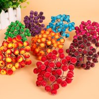 best christmas decor - Best Selling pack Small Bouquet of Artificial Flowers Stamens Cherry Berry Christmas Festival Party Decor