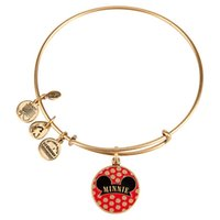 antique gold filled bangle bracelet - 2017 new style Alex and Ani Mouse Cloisonne Charm Bangle Antique gold and silver popular Pure copper bracelet
