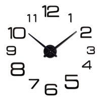Wholesale New Wall Clock d Acrylic Mirror Clocks Reloj De Pared Quartz Watch Horloge Home Living Room Modern Diy Wall Stickers