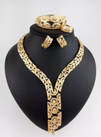 Wholesale Luxury fashion wedding K Gold Plated Jewelry set High class gold Necklace Earrings bracelet Jewelry set Special offer TDJ007 TDJ008