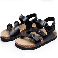 adhesive cork button - Fashion Men Shoes Beach Cork Sandals Non slip Shoes Men Sandals Three Button in Summer Cork Beach Sandals Slides Plus Size