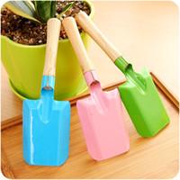 wooden handle metal head family garden shovel  family use mini garden tools colorful shovel kids tools wooden handle color metal head