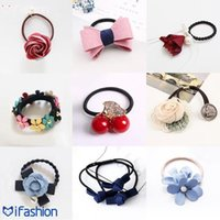 Wholesale Sweet lady girl lovely hair accessories imitation pearl bow hair rope lead the hair band ponytail
