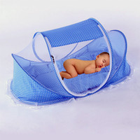 Wholesale New Blue pink Baby Infant Bed Canopy Mosquito Net Cotton padded Mattress Pillow Tent Foldable Portable