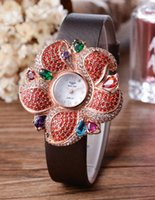 advantage purple - authentic brand manual diamond inlay pink gold case genuine leather strap advane luxury wrist watch for women gift