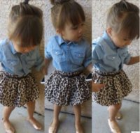 Spring / Autumn new baby long jean - 2017 New style Ins Summer Baby Girl Skirt Clothing Sets Kids Autumn fashion long Sleevel Jean Skirt Leopard Skirt Outfits Suit