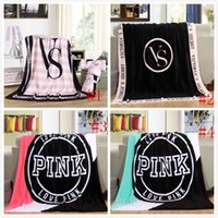 Wholesale 10pcs VS Pink Blankets Coral Fleece Blanket VS Sofa Air Condition Blankets Catwalk Dimensional Beadding Christmas Gifts
