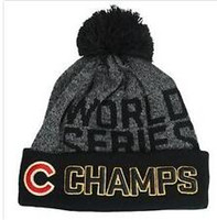 Wholesale Newest world series champs cubs beanies Winter High Quality Beanie For Men Women Skull Caps Skullies Pom Knit Hats For Sale