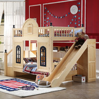Wholesale Pure solid wood children bed bed height lower bunk bed multifunctional Matsuki Ko mother bed boy girl with slide
