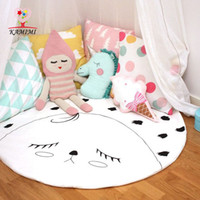 Wholesale INS Children Soft Round Game Mats Kids Cotton Crawling Blanket Play Game Indoor Outdoor Mat Baby Room Decoration Round Carpet MC0539