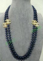 Wholesale NEW Top Long beautiful mm Dark Blue sea shell pearl necklace quot