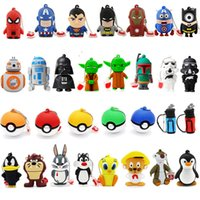 achat en gros de cartoon 32gb-Cartoon USB 2.0 Memory Stick Flash Pen Drive 1 Go 2 Go 4 Go 8 Go 16 Go 32 Go Super Hero Superman Star Wars R2D2 Darth Vader Captain America