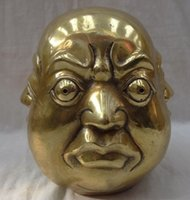 antique carved face - decoration copper crafts Chinese Brass Joss Carved Face Xi Nu Ai Le Happy Maitreya Buddha Head Statue