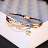 Wholesale Rose Gold Plated Cuff Bracelet Fashion Women AAA Cubic Zirconia Star Charms Bracelet Bangles for Wedding Party Sweet Korean Jewelry
