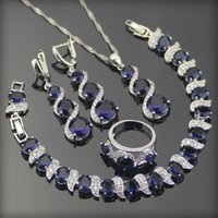 Wholesale Blue Created Sapphire White Topaz Sterling Silver Jewelry Sets For Women Earrings Rings Pendant Necklace Bracelets Free Box