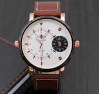 battery samples - Dual Movements Quartz Wristwatch Unique Men Women Large Dial Face Multi TIme Zone Fashion Leather Wristwatch Sample Order Newest Design Tag
