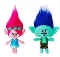 Wholesale 23cm Dream Works Trolls Mega Town Poppy Branch Plush Dolls Stuffed Toys Kids Gift free DHL